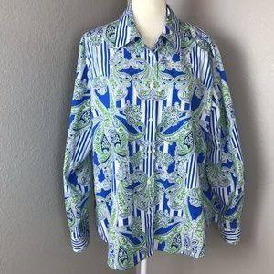Foxcroft Button Down Collared Paisley Blouse